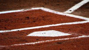 witte stip honkbalveld
